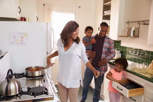 Mom cooking family kitchen kids dad children