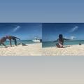 WATCH: Woman doing yoga on beach has unfortunate run-in with a wild iguana!