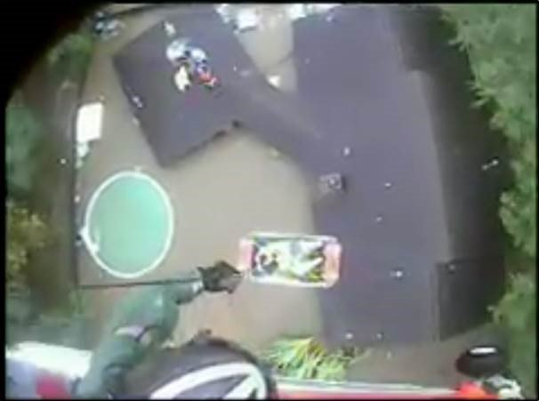 image helicopter rescue mother and child