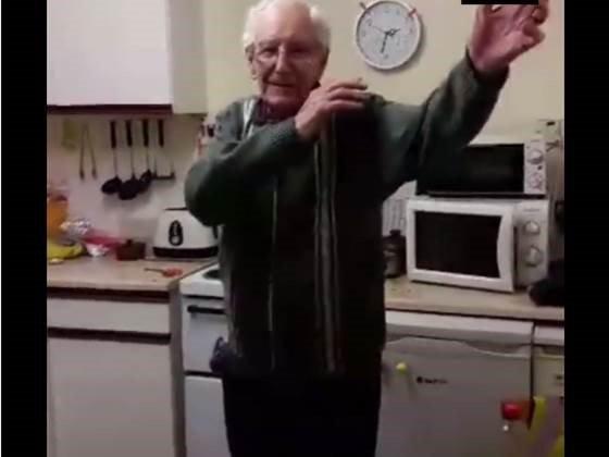 image old man dancing acting cool