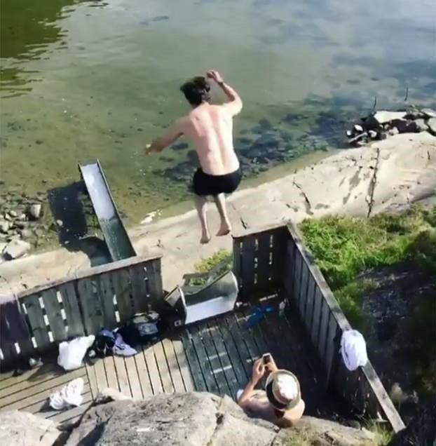 image slide water man jumps