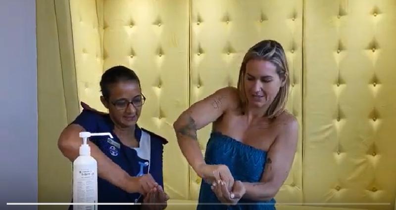 keri washing her hands