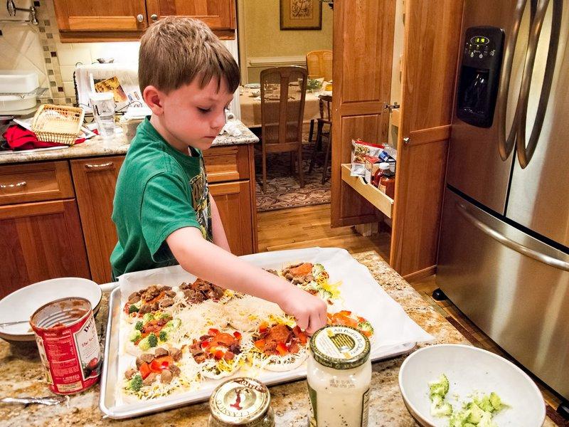 Kid preparing lunch