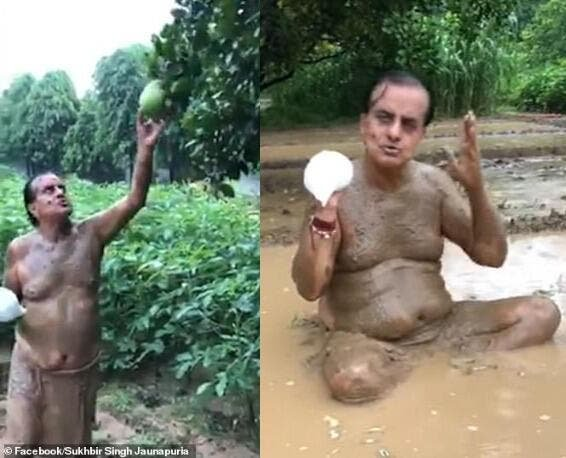 Politician bathing in mud