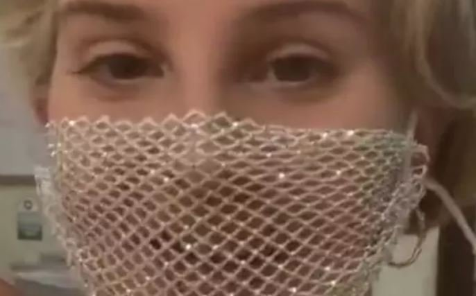 Lana Del Rey Wearing Mesh Face Mask