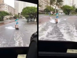 Watch: Local flash flood  surfer goes viral