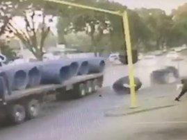 Man runs for his life truck