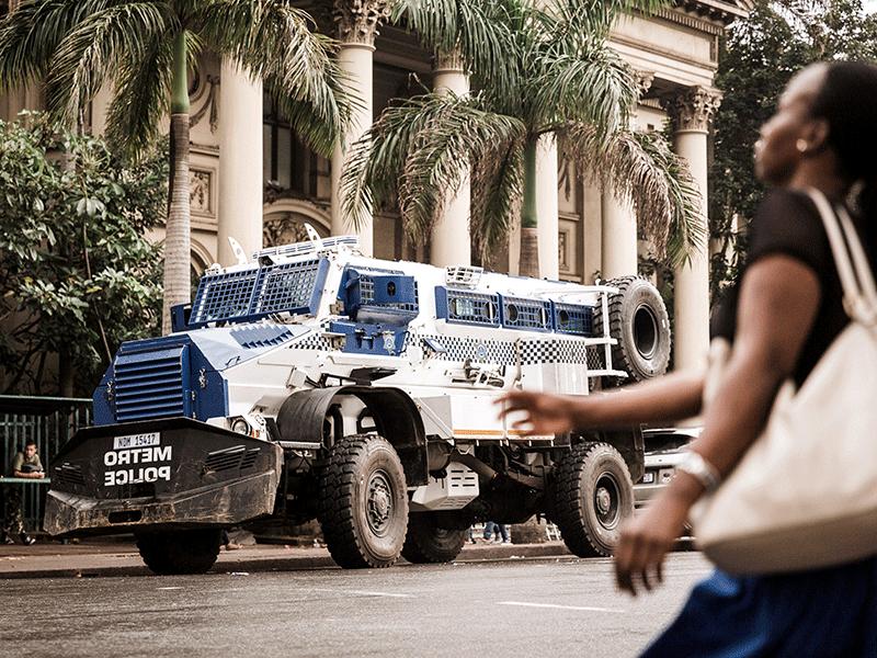 Metro police casspir in Durban CBD