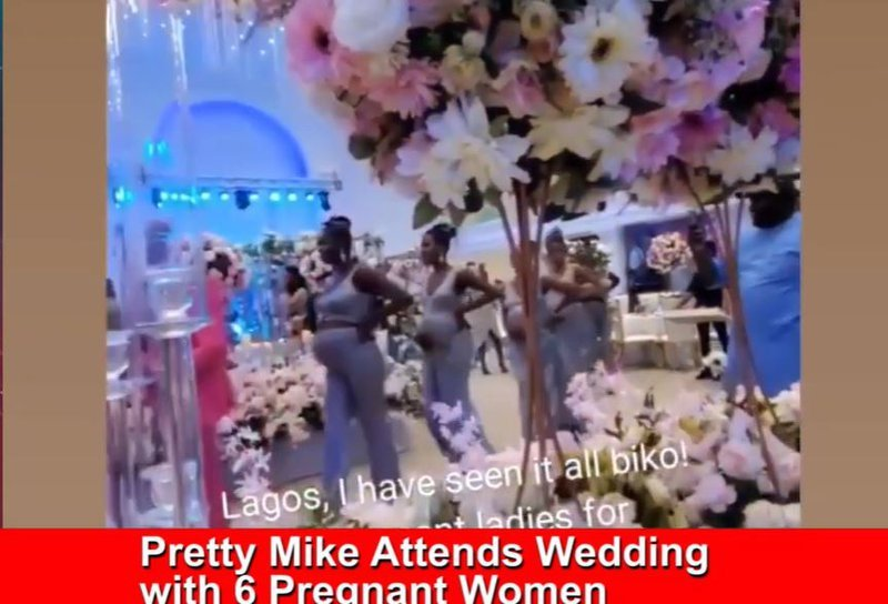Pretty Mike arrives to a wedding with 6 pregnant woamen