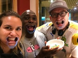 Breakfast team does the mouthfull challenge