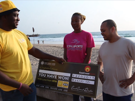 Sky Tshabalala and MTN share the love on the Durban beachfront