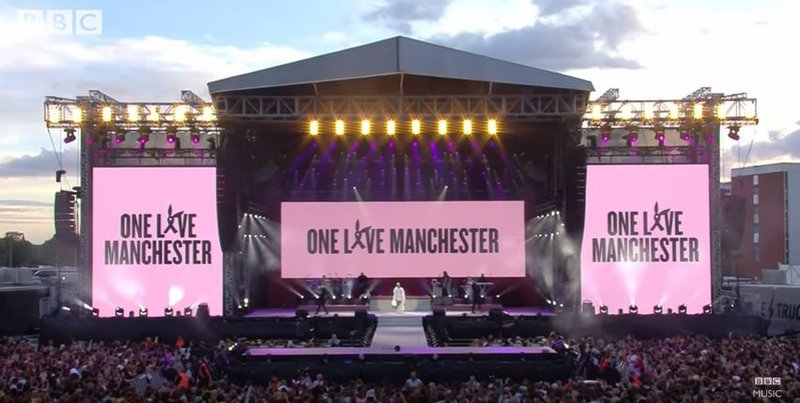 Grande gets emotional during Manchester benefit concert