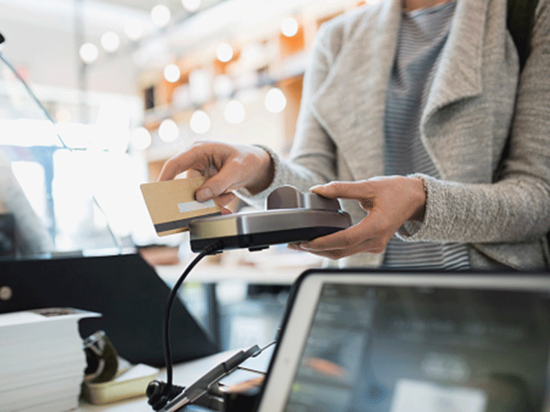 Customer paying, customer service, credit buying