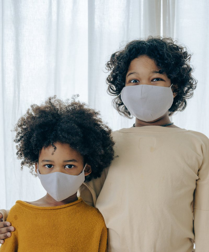 Children wearing mask