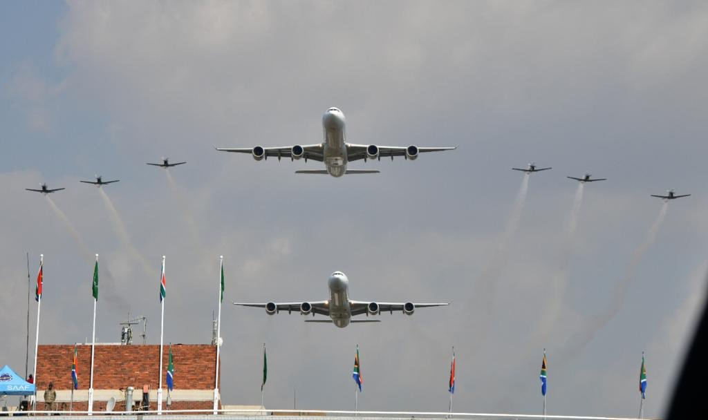 planes flying over stadium