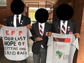 Maritzburg boys carrying EFF t-shirts