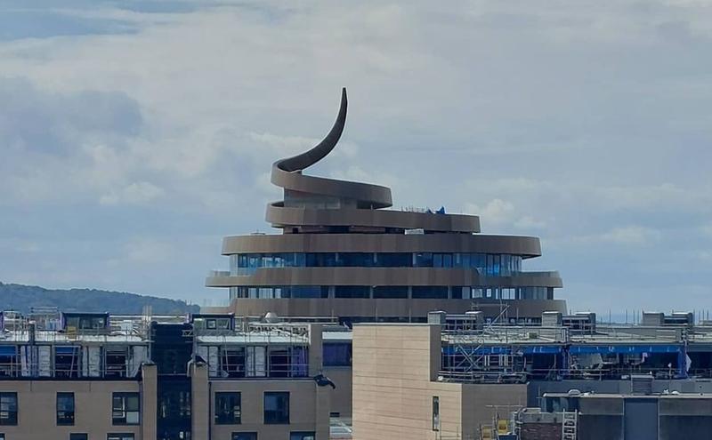 A building resembling the poop emoji