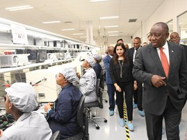 Cyril Ramaphosa at the Dube plant in KZN