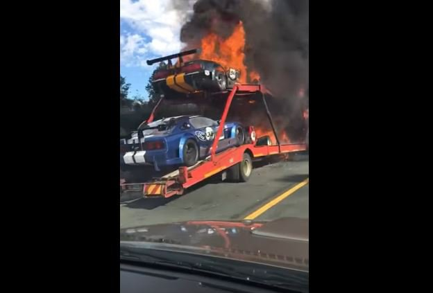 Racing Cars Catch Fire On Truck Near Knysna
