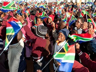Pupils, South African flags