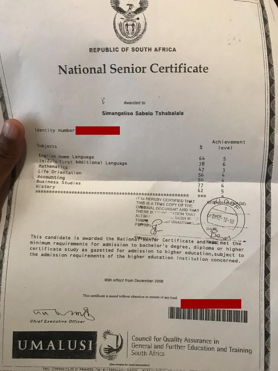sky tshabalala's matric results