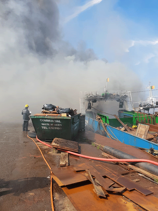 Ship on fire at Durban Port