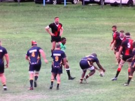 sky playing rugby and drops the ball
