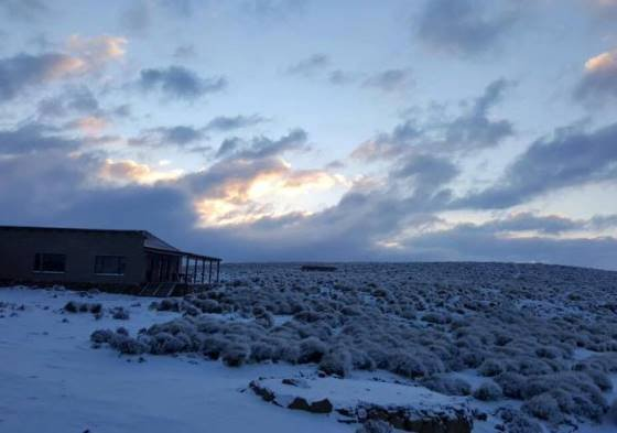 Snow at Sani Mountain Lodge at the top of Sani Pass in KZN