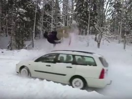 Snowboarding on moving car