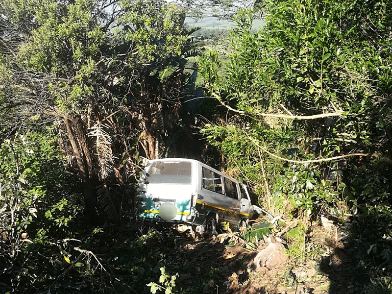 Taxi veers down embankment on south coast