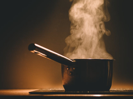 steaming saucepan