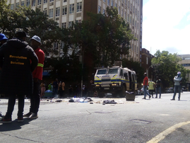 police inyala in Braam Wits student protest