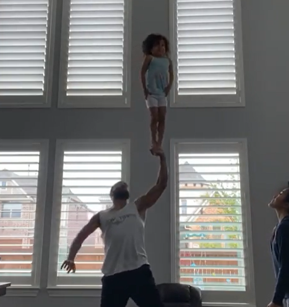 father and daughter stunts