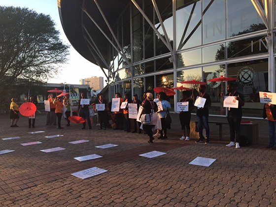 Sweat protest outside Durban ICC