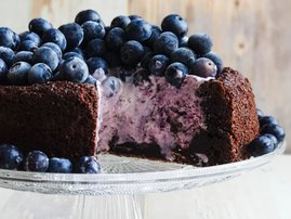 Brownie based blueberry ice cream cake recipe