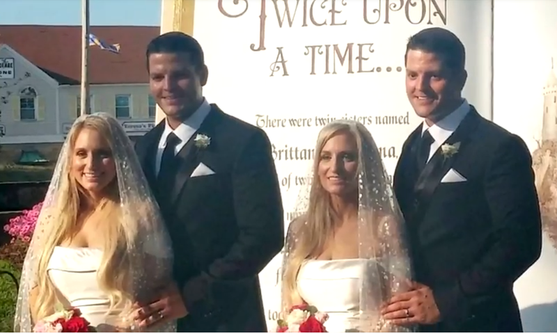 Identical siblings double wedding a highlight at twins day festival junglespirit Gallery