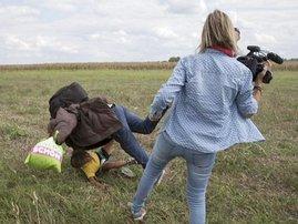 Reporter trips fleeing refugees