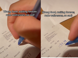 WATCH: A video of a man subtracting his waiter's tip gets attention online