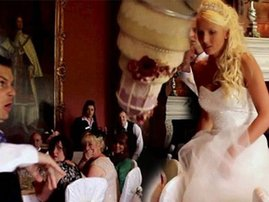 Groom pranked his wife by pretending to drop the wedding cake