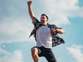 Man jumping from joy