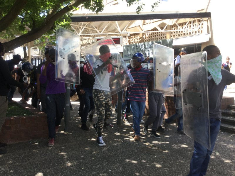 Wits students with shields
