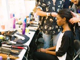 Woman shaving hair