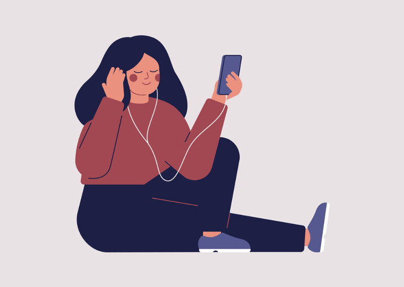 Woman listening to music animation