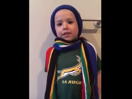 young rugby fan